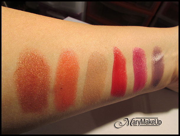 Miss Braodway Smart Kiss Lipsticks - swatches alla luce artificiale