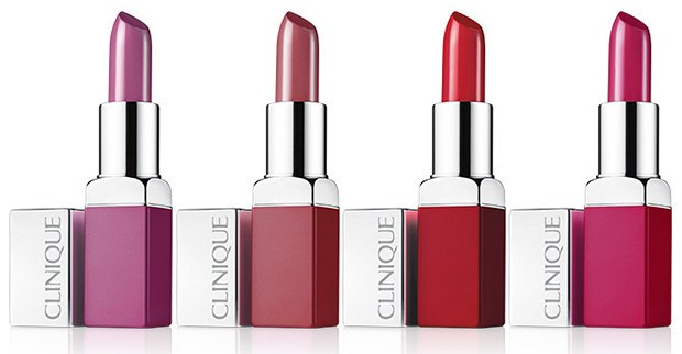 Clinique Pop Lip Colour: Grape Pop, Plum Pop, Cherry Pop e Punch Pop