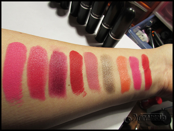 Mac Cosmetics swatches rossetti (luce artificiale)