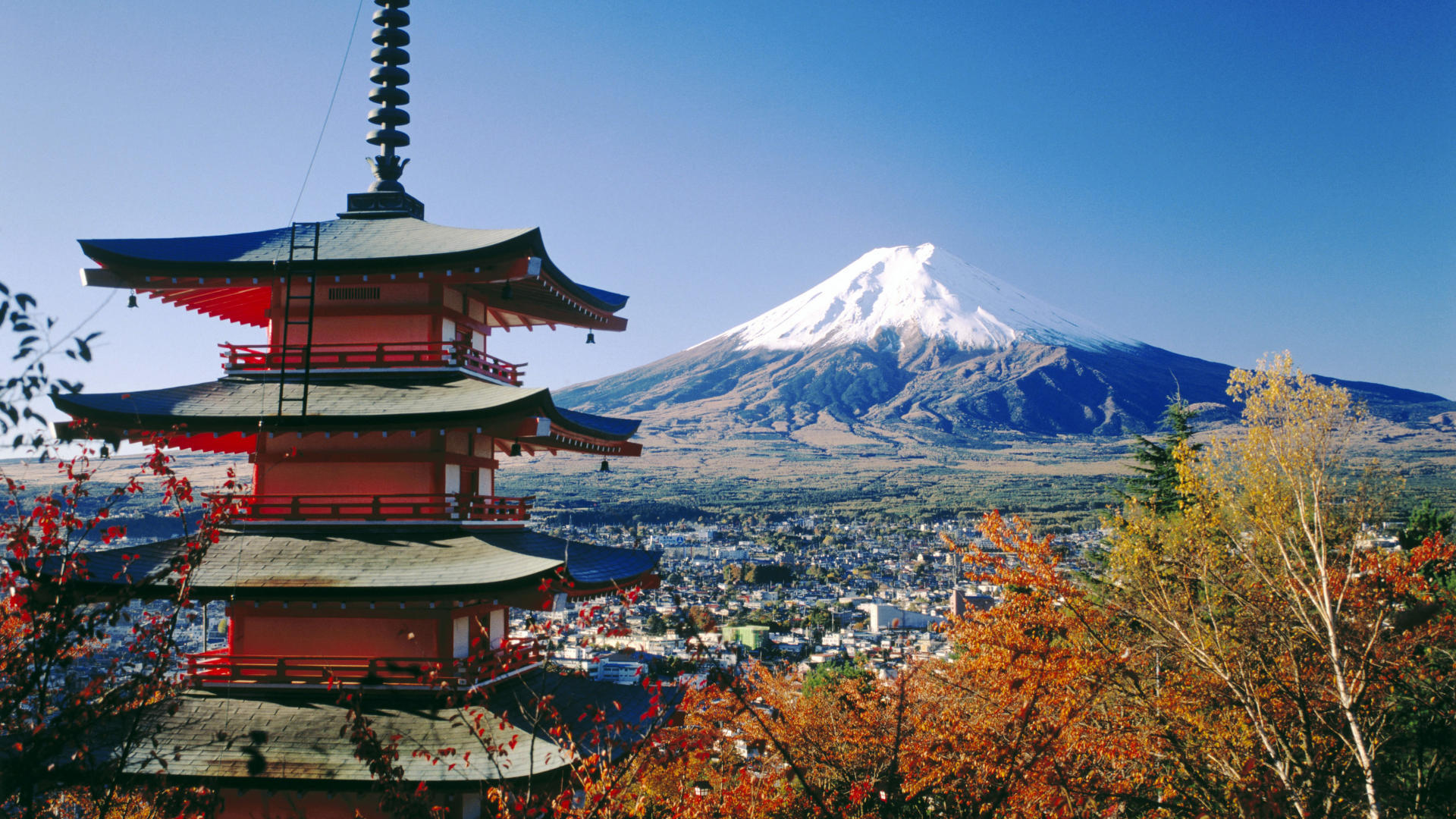 Fujiyoshida and Mount Fuji. Japan